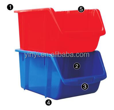 Large Clear Stacking Bin,PP Plastic stackable tool storage box bin (1010440)