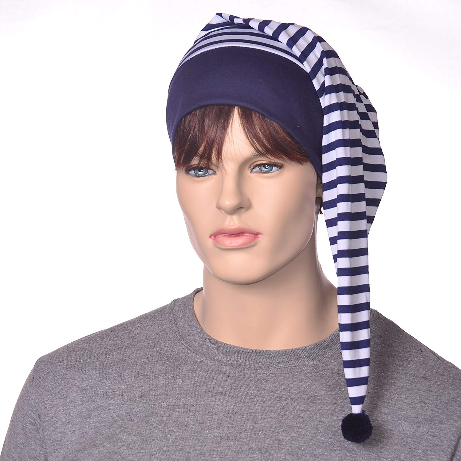 a2050c42a67 Navy Blue and White Striped Stocking Night Cap Unisex Lightweight