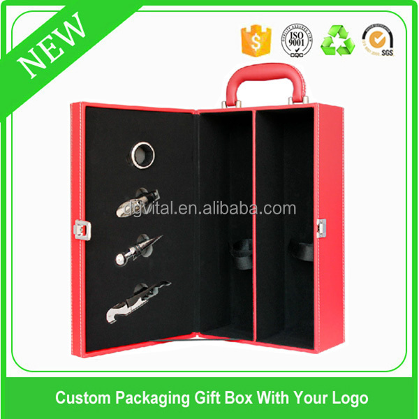 high quality red leather 2 double bottles wine packaging accessories wood wine box D18