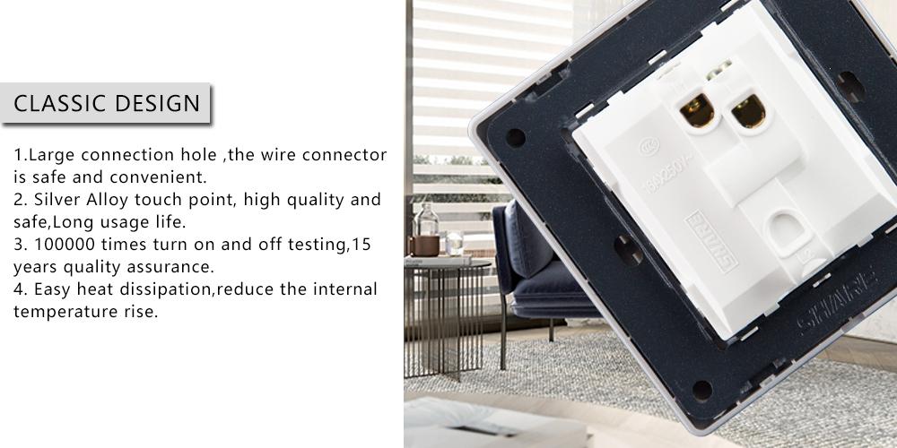 बी एस अच्छी गुणवत्ता 250VAC 16amp सफेद पैनल पुश बटन 2 गिरोह 2 रास्ता दीवार स्विच 86*86mm के लिए बी एस/सऊदी अरब/वियतनाम/मध्य पूर्व