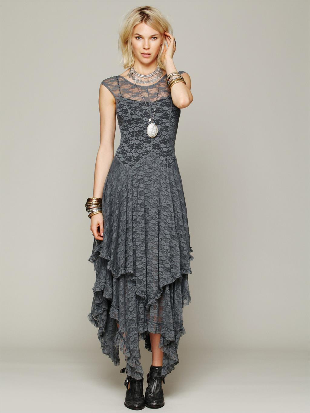 82257360ca6 Boho People Hippie Style Asymmetrical Embroidery Sheer Lace Dresses ...