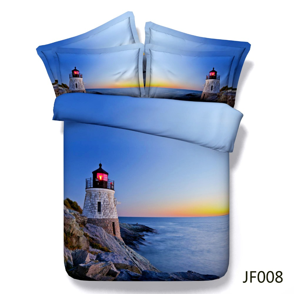 Bed linen Beautiful HD 3d Guiding Lighthouse at Sunset Satin Cotton bedsheet