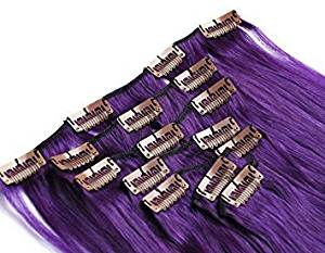 "Futuretrend #Lila Purple Color 15""-22""inch 7pcs/set Clip in Human Remy Hair Clip In/on Hair Extension Straight Clip Hair Top Grade Brazilian Virgin Hair Extension (22 7pcs 80G)"