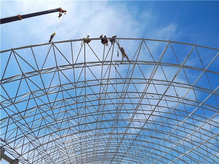 Long span steel space frame swimming pool roof