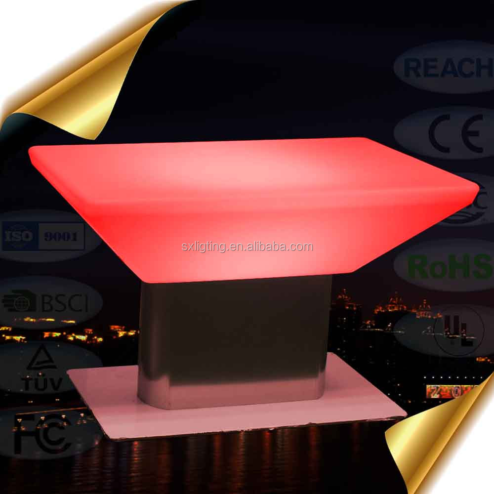 Rechargeable 16 Colors LED Furniture Light-up Glowing coffee <strong>Table</strong> with Remote control and cordless