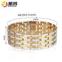 18K Gold Plated Hign Quality Chunky Copper Bracelets Tiny Two Color Sticks Linked Copper Watch Band Bangle Bracelet For Men