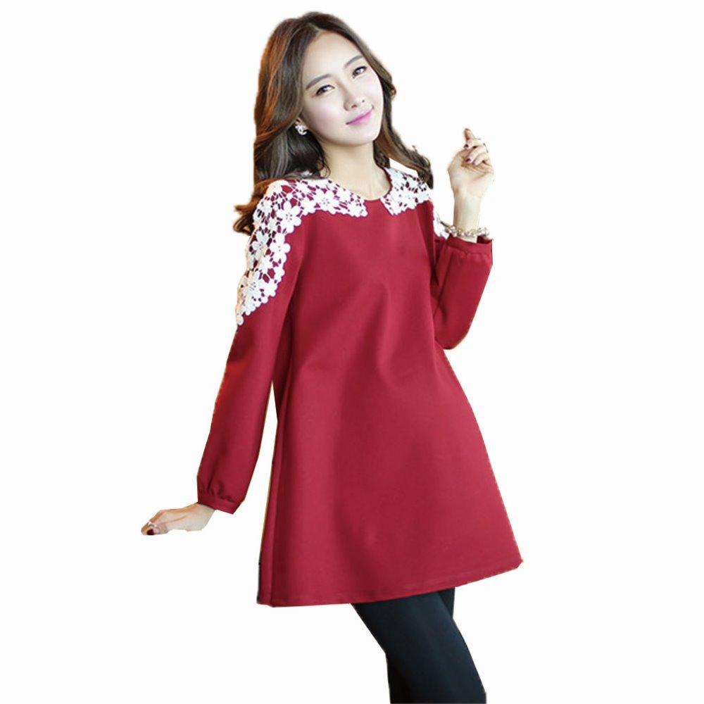 Красное вино кружева лоскутные беременных платья осень зима с длинными  рукавами одежды для беременных Большой размер платья одежды для беременных 16dd3ff6a89