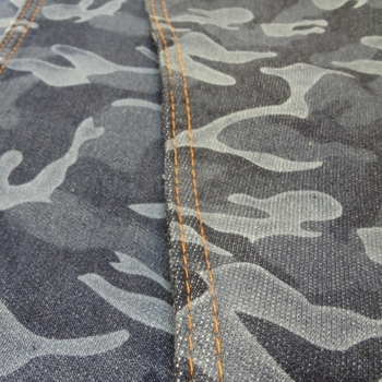2018 fashion camo printing denim fabric double weft weaving jeans fabric poly spandex woven french terry textile