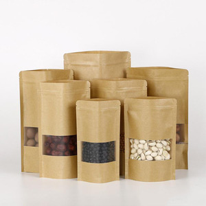 Custom Printed Waterproof Brown Kraft Paper Bag with Clear Window for Food