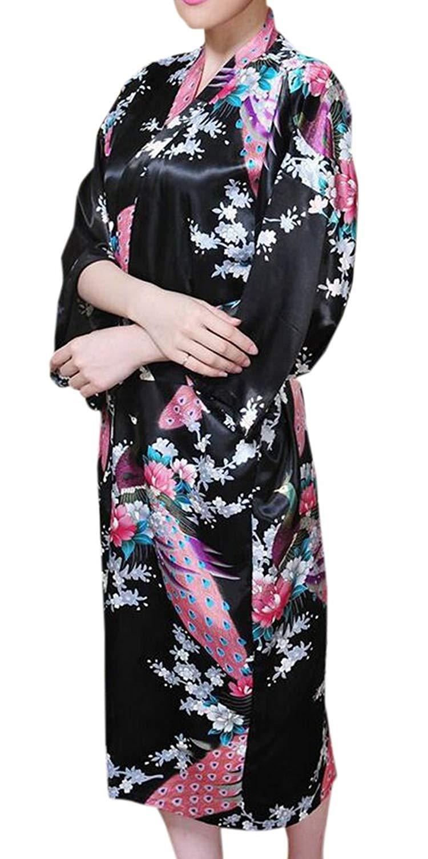 Get Quotations · BYWX Women Bathrobe Satin Kimono Print Sleepwear Nightgown Kimono  Robes 870ae8fc2