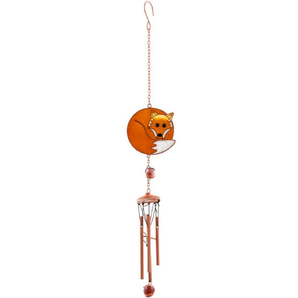 Beautiful Hand Crafted Metal, Glass & Resin Wind Chime In A Fox Design - Garden