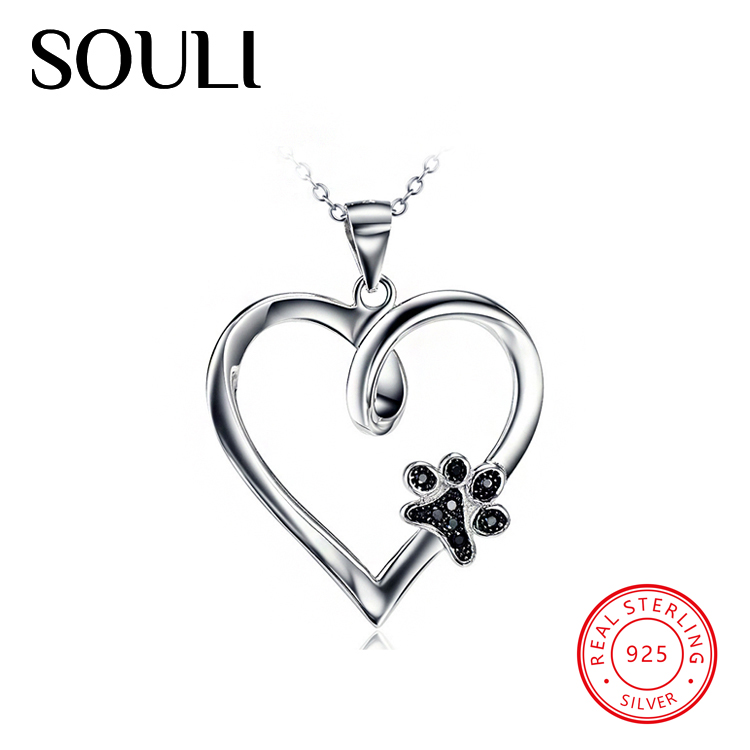 Fashion Cubic Zirconia Jewellery S925 Sterling Silver Heart Dog Paw Necklace