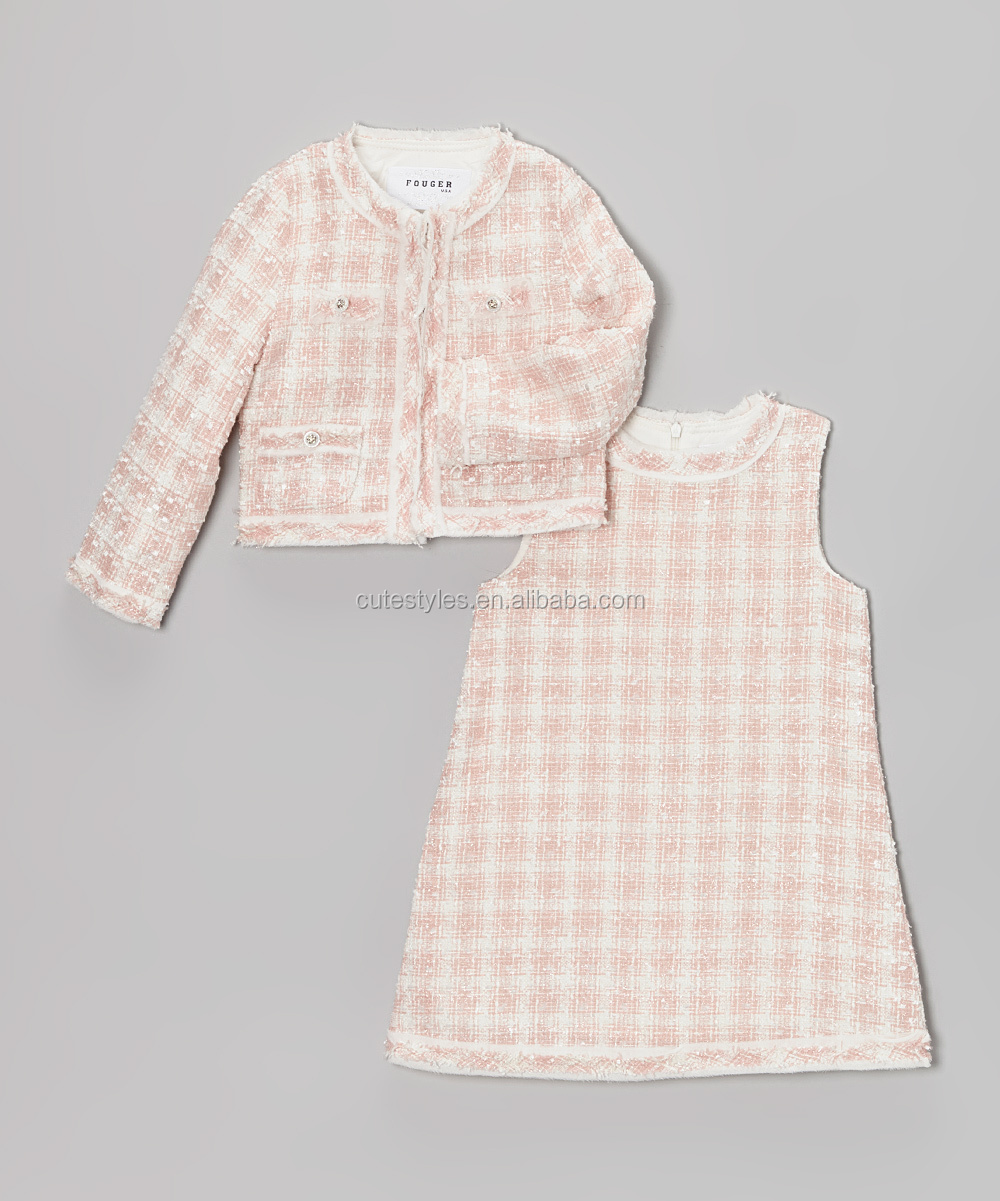 Wholesale Baby Girls Dresses Pink and White Houndstooth Shift Dress and Jacket long sleeve Baby Frocks winter Z-CS80730-1