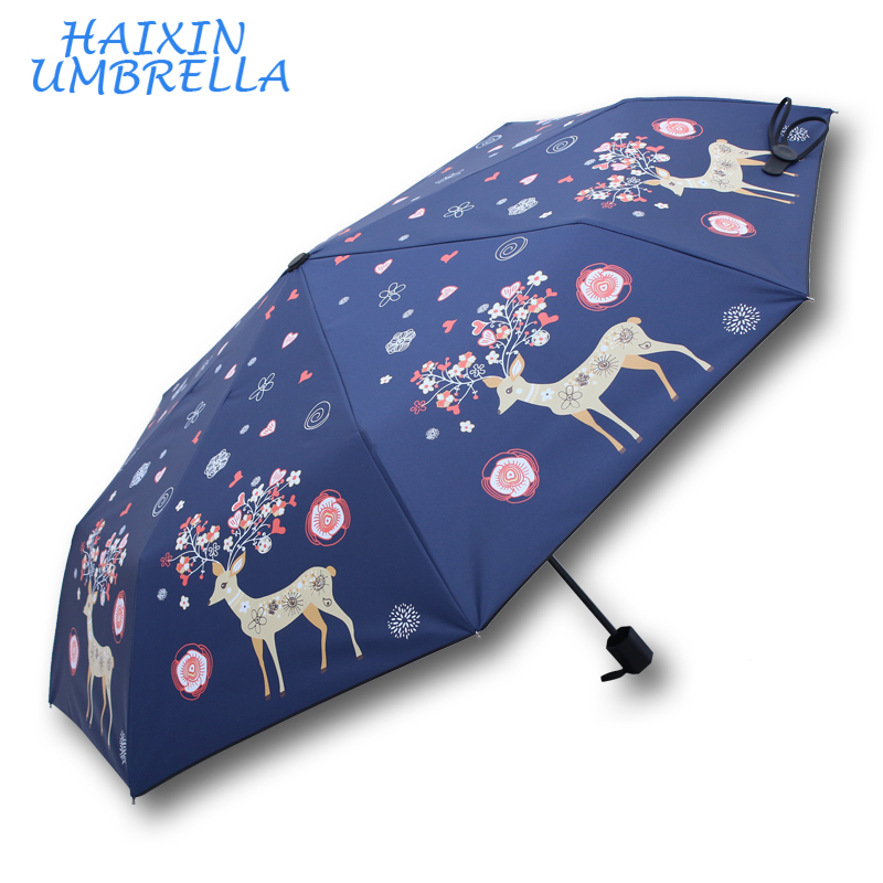 Professional manufacture china promotional 2017 new style sun custom print fashion 3 fold umbrella factory