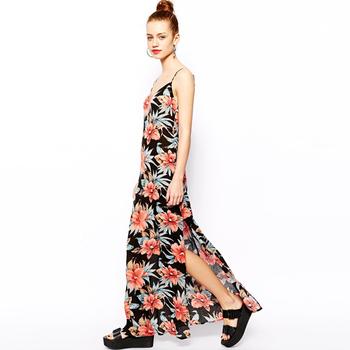 90c32c002a 2015 nuevo diseño verano flor imprimir gasa Vestido de playa split vestido  de las mujeres ropa