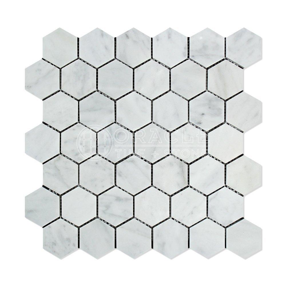 Carrara White Italian (Bianco Carrara) Marble 2 inch Hexagon Mosaic Tile, Honed
