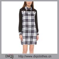 Office Style Fold-over Collar Dress Shirts For Women Silk Crepe Tartan Plaid Shirtdress