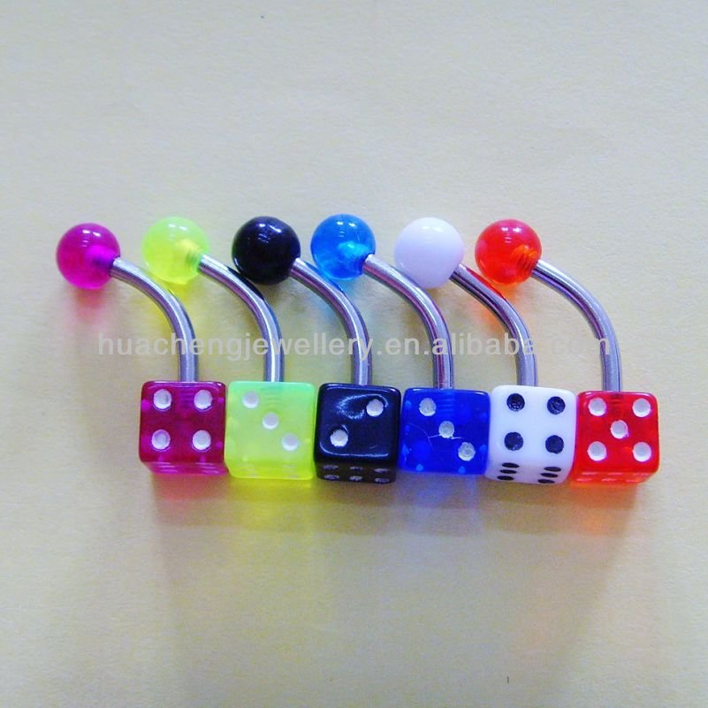 dice uv belly ring with neon color body piercing jewelry