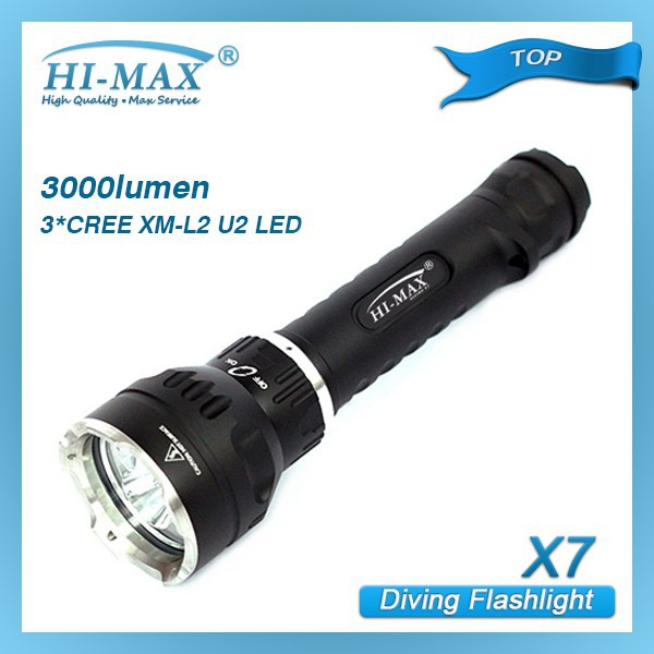 Hi-max X7 3*cree Xm-l2 U2 Led 3000 Lumen Diving Rechargeable Torch ...