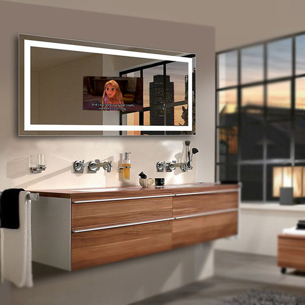 Bathroom Led Lighting Rectangle Shape Smart Tv Wall Mounted Mirror Magic Decorative Product On