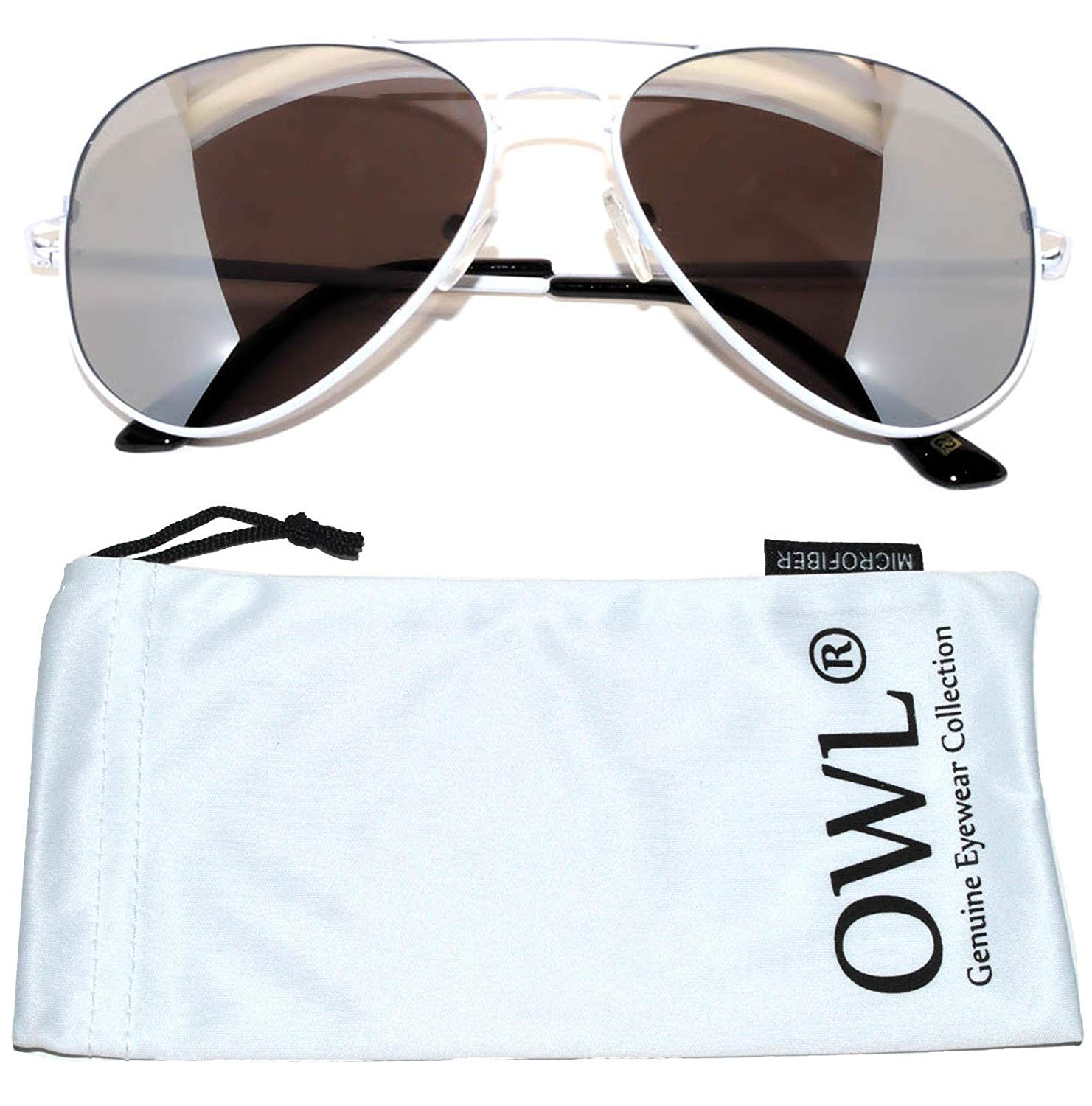 59d21ba9a04 Get Quotations · Classic Aviator Sunglasses Silver Mirrored Lens White Frame  Spring Hinge OWL