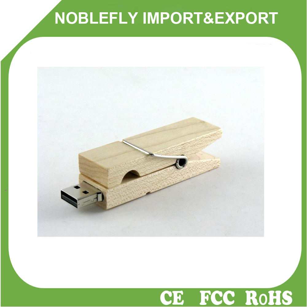 2016 China USB Manufacturer Wooden Clip USB Pen Drive 3.0 For Kingston