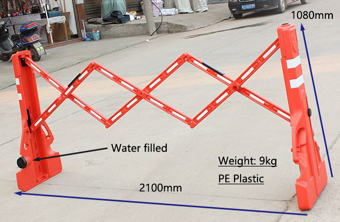 Portable Plastic expandable water filled road temporary barricade