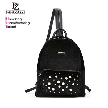 7447 China Handbag Supplier YIYI Leather Rivets Lay Hand Bag carteras, Fashion Black Velvet Mochilas Backpack Bag for Women