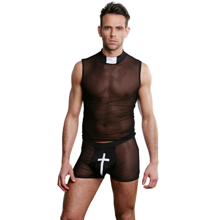 hot sale sexy men's lingerie sexy priest costume see through pants men