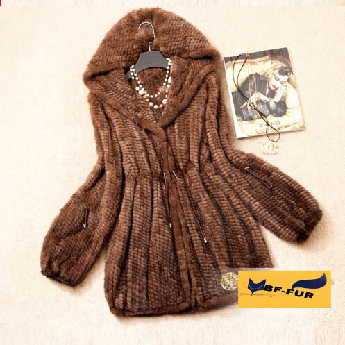 Winter Women Genuine Natural Knitted Mink Fur Coat Hooded Real Fur Jackets Fur Outerwear Warm Fur Garments BF-C0047