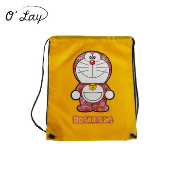 Custom Promotional Cute Doraemon Polyester Drawstring Bag Oxford Backpack Tote Shopping Bag