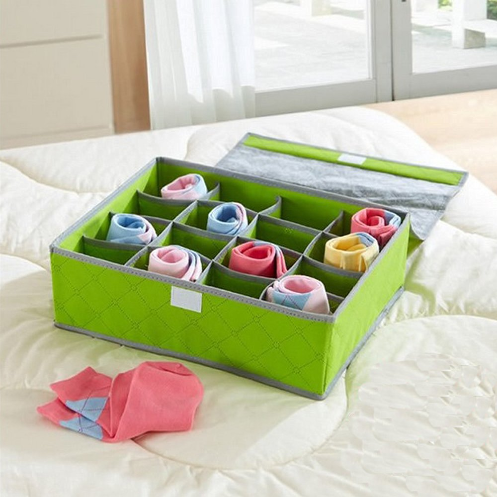 16 Green Pockets Drawer Organiser Cupboard Bra Socks Under Bed Storage Kids