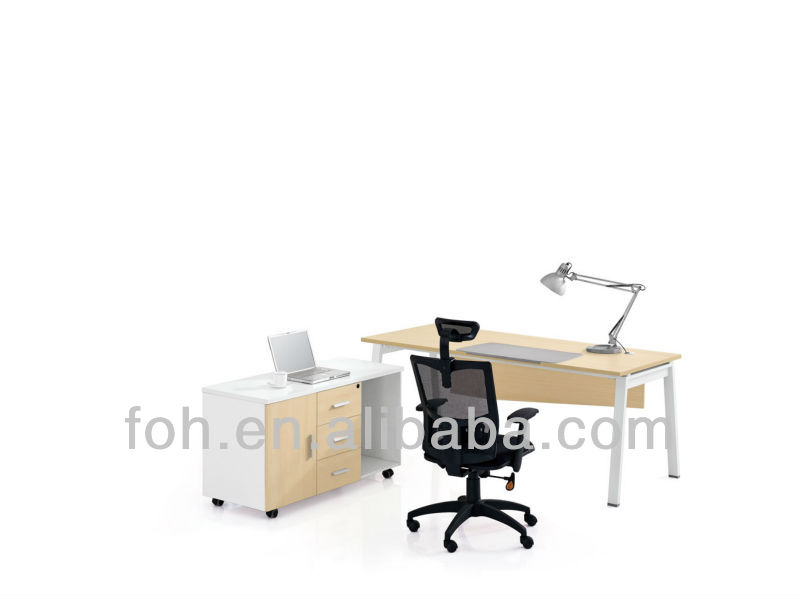 Wooden Executive Office Desk Table Set with Metal Legs (FOH-OK-D0316)