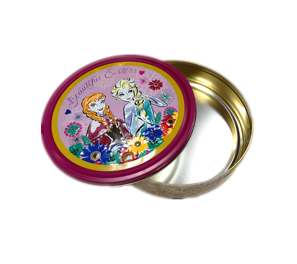 Round custom design candy tin box cake packaging tin container