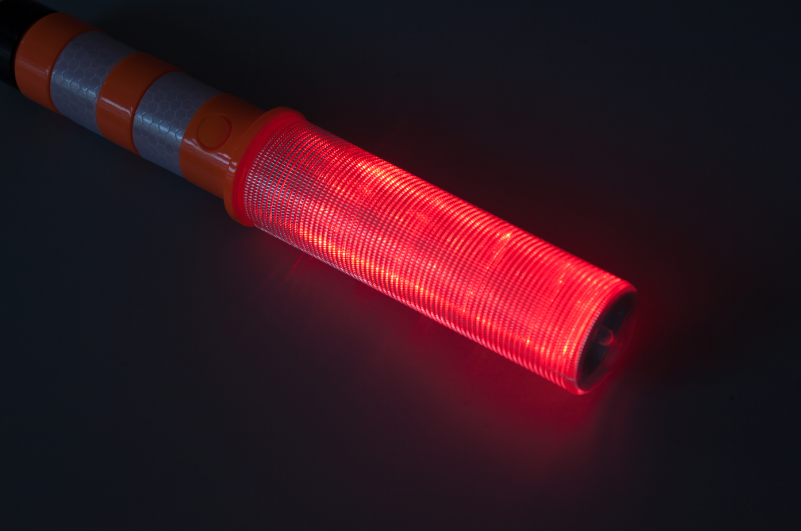 Portable Traffic Signal Wand Light Baton Red LED Road Safety Flare With Magnetic Base