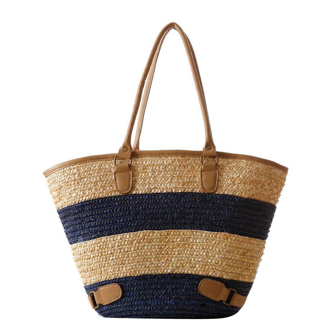 5aff6c0078de Get Quotations · Luckywe Womens Purses and Handbags Ladies Minimalism Straw  Bag Summer holiday Stripe Beach Bag