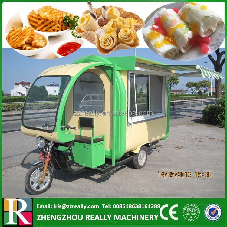 RL-FD220H electric fried ice cream roll vending cart, electric motorcycle for ice cream