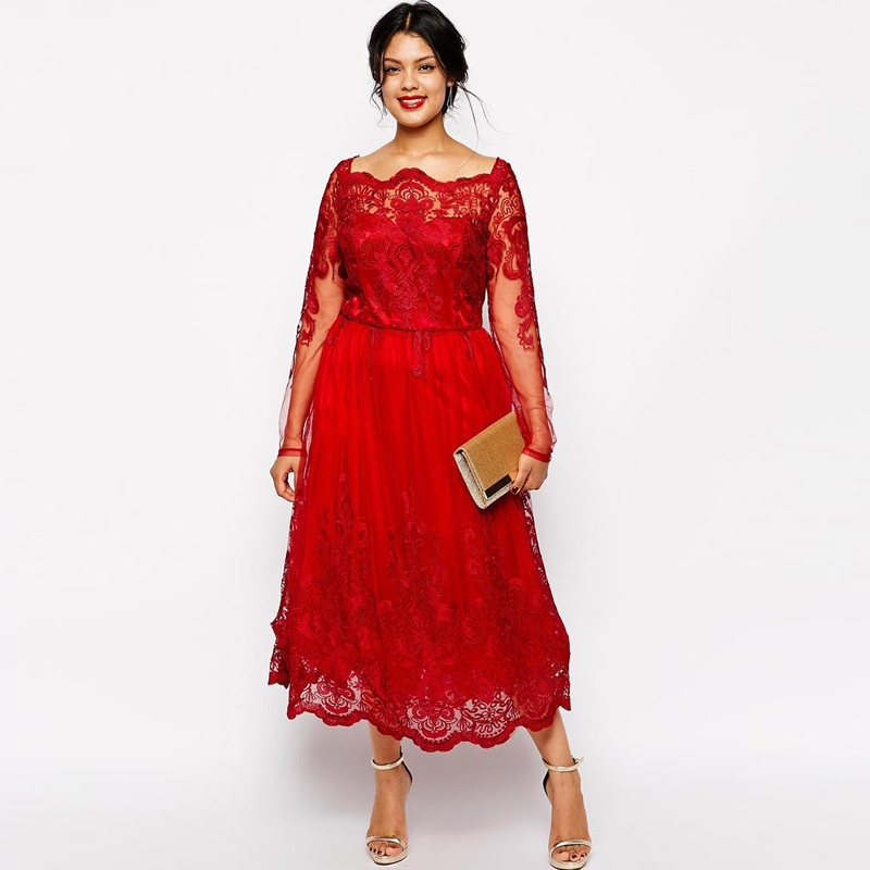 2016 New Stock Plus Size Women Bridal Gown Wedding Dress: Red Lace Plus Size Mother Of The Bride Dresses Full Long