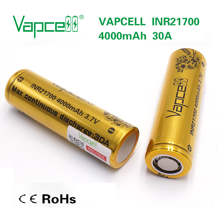 New Product strong power 21700 battery Vapcell INR21700 4000mah 30A battery 3.7V Li-ion battery