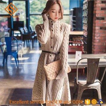 781b4902dee women knit cardigan dress fashion twist pattern thicken winter Korean style