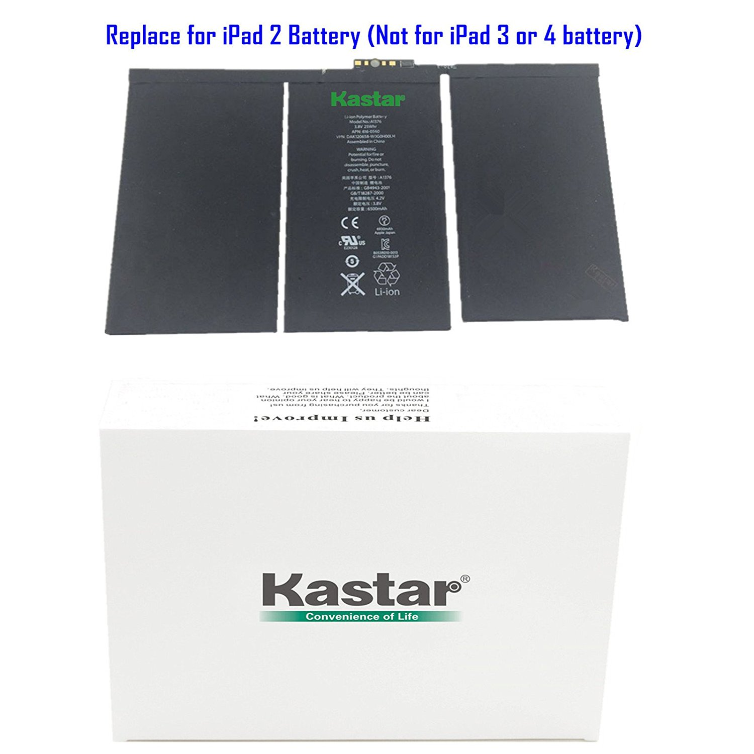 Kastar Battery for Apple iPad 2 (the 2nd Generation iPad) Replacement Internal Battery 3.8V 25Whr 6500mAh Fixes for Apple iPad 2