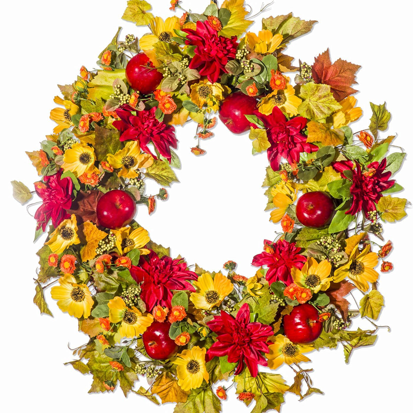Mum, Poppy, Berry and Apple Fall Silk Wreath for the Autumn Season (30 inch)