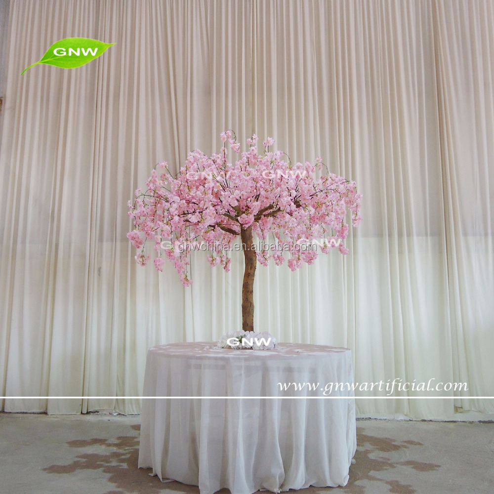 Gnw Ctr1605008 Table Decoration Fake Cherry Bonsai Tree Silk Flower Pink Artificial Blossom