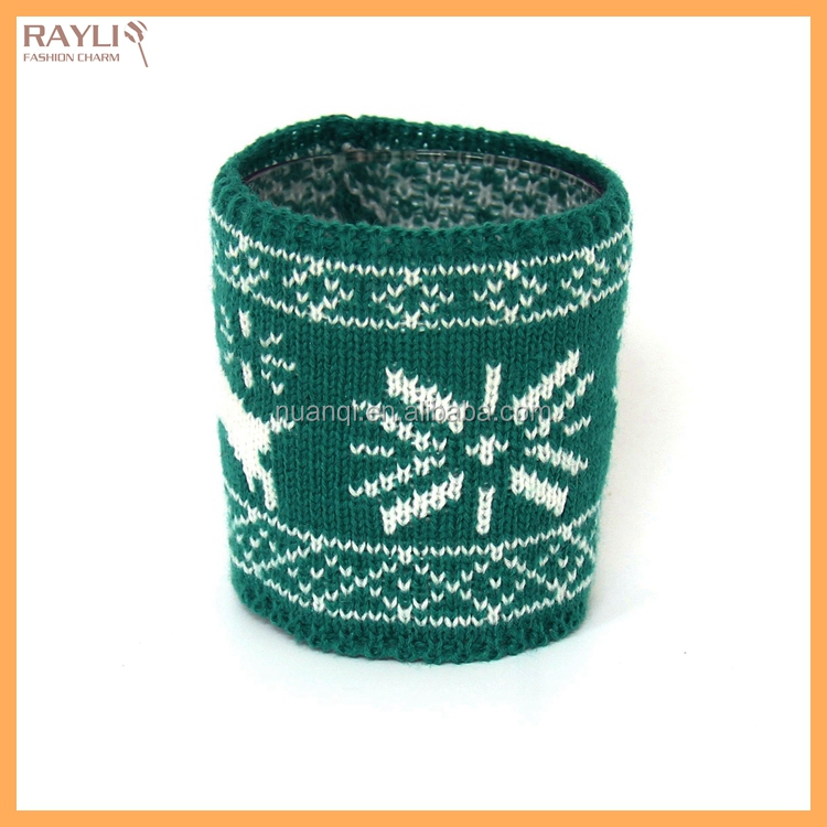 High Quality Cheap Cable Knitted Merry Christmas Promotioal Gift Jacquard Cosy Coffee Sleeve