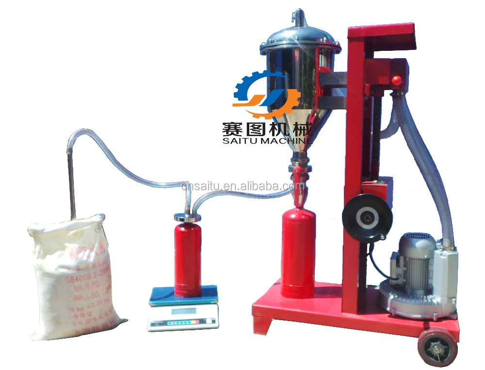 Semi-aotumatic fire extinguisher filling machine for refilling ABC dry powder