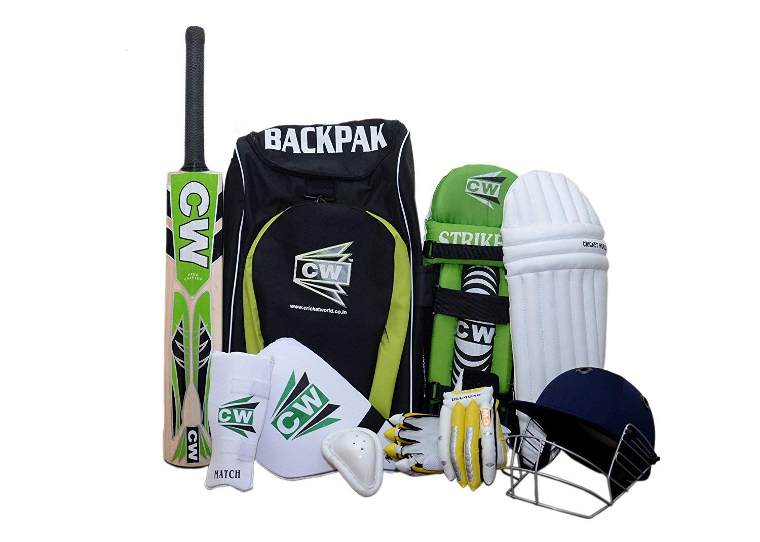 C&W CW Brand New Sports Cricket kit Green Size No. 6 With English Willow League 20-20 Ideal for 11-12 year child Short Handle Cricket bat,Helmet, Batting Gloves,Arm &Thigh Guard,