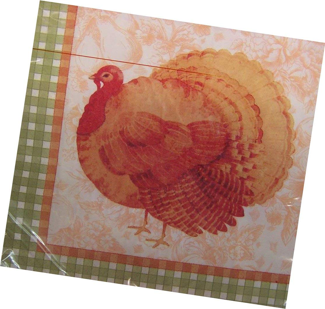 """Custom Made & Disposable {6.5"""" Inch} 16 Count of 2 Ply Mid-Size Size Square Food & Beverage Napkins, Made of Soft Absorbent Paper w/ Holiday Thanksgiving Turkey Country Style {Brown, Black, & White}"""