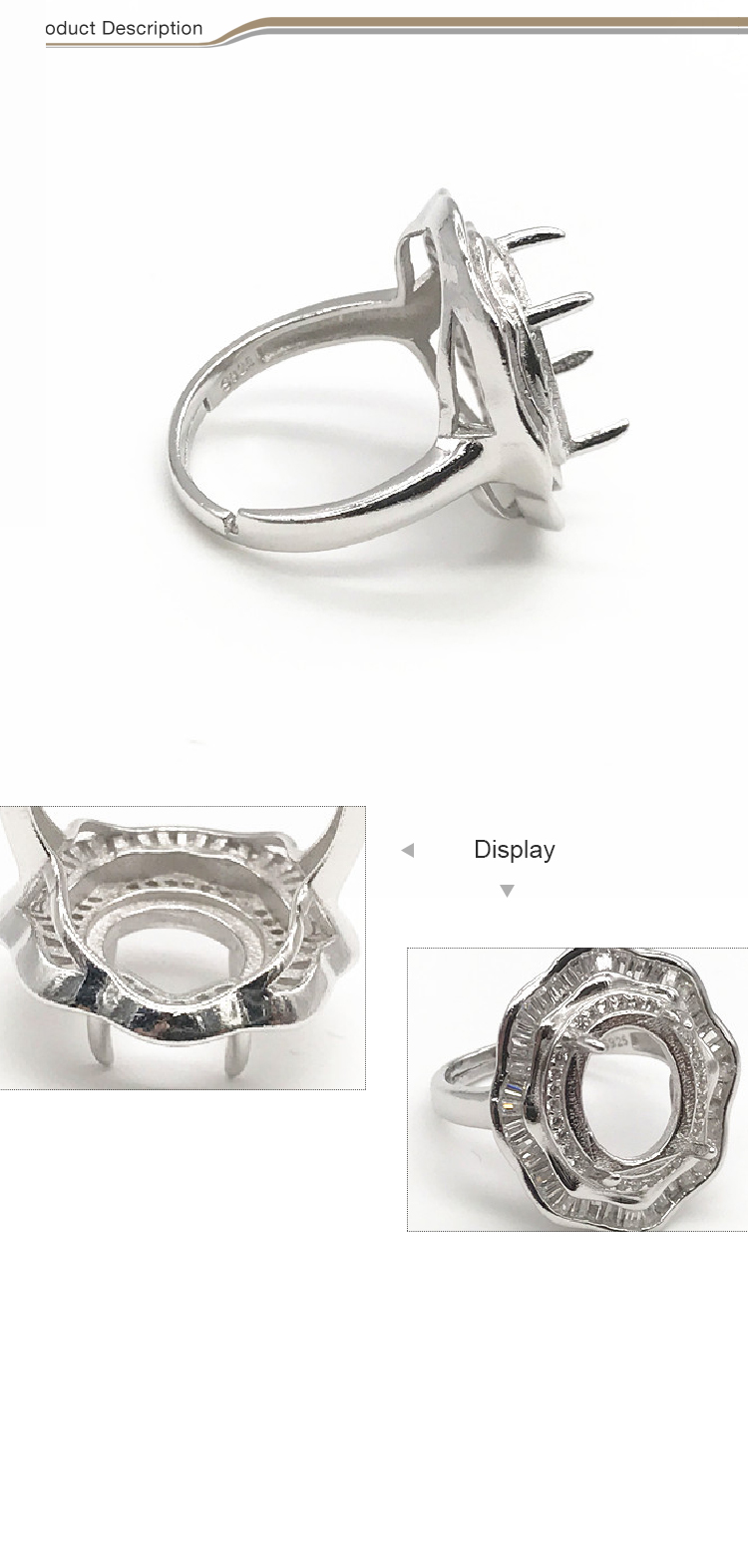 Wholesale 925 silver ring settings without stones ring pearl ring mountings
