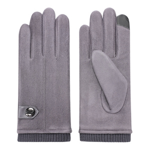 Fashion mens winter touch screen driving accessories suede fabric gloves