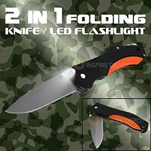 Generic O-8-O-1612-O Stainl Blade ABS Blade A Light Flashlight Flashli Multi-Function Knife L Stainless Steel 1 LED F 2in1 LED Folding Knife HX-US5-16Mar28-309